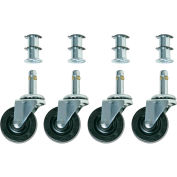 "Bevco CAR4-2I Single 2"" Rubber Wheel Casters, Set of 4, for Model 1411"