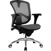 Bevco M6088MM Ergonomic Executive Mesh Chair, 5-Star Polished Aluminum Base, Black