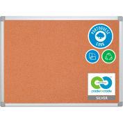 "MasterVision Earth Cork Board, Silver/Gray Frame, 48""W x 36""H"