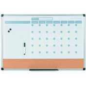 "MasterVision 3-in-1 Dry-Erase Calendar Planner Board, 24"" X 36"", Silver Frame"