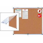 "MasterVision Slim Line Cork Bulletin Enclosed Board Cabinet, Single Top Hinged Door, 47""  X 38"""