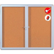 "MasterVision Cork Bulletin Enclosed Cabinet, Aluminum Frame, 48""W x 36""H"