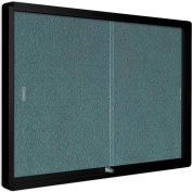 "MasterVision Fabric Enclosed Bulletin Cabinet, Sliding Doors, 48""W x 36""H"