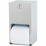 Bradley Standard Toilet Tissue Dispenser Dual Roll, Vertical Stainless Steel - 5402-000000 - Pkg Qty 2