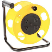Bayco® Add-A-Cord Quad Tap Cord Reel W/Circuit Breaker SL-2000PDQ, Yellow