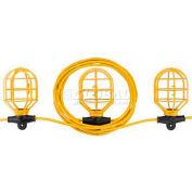 Bayco® SL-7408 Indoor/Outdoor Plastic String Light, 100' Cord, 10 Sockets, 14/2 GA, Yellow