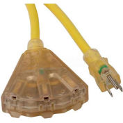 Bayco® SL-746L, 25'L Triple Tap Extension Cord w/ Lighted Ends, 12/3 GA, Yellow, 4-PK - Pkg Qty 4