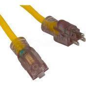 Bayco® Single Tap Extension Cord w/ Lighted Ends SL-757L, 25'L Cord, 12/3 GA, Yellow, 4-PK - Pkg Qty 4