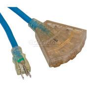 Bayco® Contractor Grade Triple Tap Block Heater Cord SL-768, 5M'L Cord, 16/3 GA, Blue, 6-PK - Pkg Qty 6
