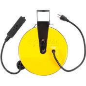 Bayco® Triple Tap Extension Cord SL-800, Retractable Reel, 30'L Cord, 16/3 GA, Yellow