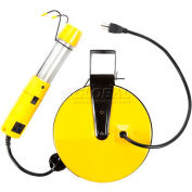 Bayco® Work Light W/Tap & Magnet SL-825, Retractable Reel, 40'L Cord, 16/3 GA, YW, 4-PK - Pkg Qty 4
