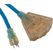 Bayco® Triple-Tap All Season Cord W/Lighted End SL-9108, 100'L Cord, 12/3 GA, Blue, 2-PK - Pkg Qty 2