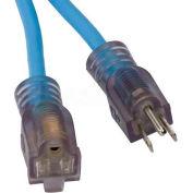 Bayco® SL-990 25' Single-Tap All Season Cord W/Lighted End, OSHA NRTL 16/3 GA, Blue, 13amp - Pkg Qty 18