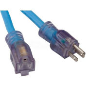Bayco® SL-996 25' Single-Tap All Season Extension Cord OSHA NRTL, W/Lighted End,  12/3 GA, Blue - Pkg Qty 4
