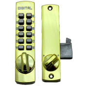Lockey C150 Mechanical Keyless Surface Mount Hook Bolt Lock for Sliding Door, Bright Brass