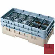 "Cambro 10HS318416 - Camrack  Glass Rack 10 Compartments 3-5/8"" Max. Height, Cranberry, NSF - Pkg Qty 5"