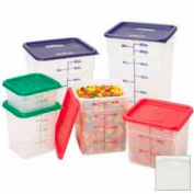 Cambro 12SFSPP190 Square Food Container, w/Handles, 12 Quart, 11-1/4x12-1/4x8-3/4, Translucent Package Count 6 by Food Containers