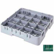 "Cambro 16S318119 - Camrack  Glass Rack 16 Compartments 3-5/8"" Max. Height Sherwood Green NSF - Pkg Qty 5"