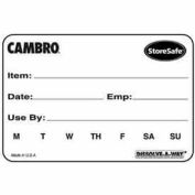 """Cambro 23SLINB250 - Food Rotation Label 2"""" x 3"""" Biodegradable White, 250 Labels/Roll, 24 Rolls/Case - Pkg Qty 24"""