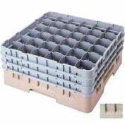 """Cambro 36S738184 - Camrack  Glass Rack Low Profile 36 Compartments 7-3/4"""" Max. Height Beige - Pkg Qty 3"""
