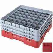 """Cambro 49S318416 - Camrack  Glass Rack 49 Compartments 3-5/8"""" Max. Height, Cranberry, NSF - Pkg Qty 5"""