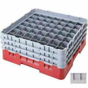 """Cambro 49S638151 - Camrack  Glass Rack 49 Compartments 6-7/8"""" Max. Height, Soft Gray, NSF - Pkg Qty 3"""