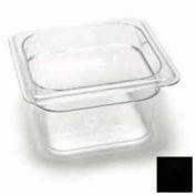 "Cambro 64CW110 - Camwear Food Pan, Plastic, 1/6 Size, 4"" Deep, Polycarbonate, Black, NSF - Pkg Qty 6"