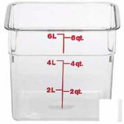 """Cambro 6SFSCW135 Square Food Container, 6 Quart, 8-3/8"""" x 8-3/8"""" x 7-1/4"""", Clear Package Count 6"""