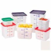 """Cambro 6SFSP148 Square Food Container, 6 Quart, 8-3/8"""" x 8-3/8"""" x 7-1/4"""", White Package Count 6"""