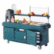 "Cambro KVC854192 - CamKiosk Cart 4 Pan Wells, 85-1/8"" x 33-1/2"" x 70-1/2"", Granite Green"