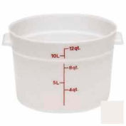 "Cambro RFS12148 - Storage Container, Round, 12 Qt., 14-7/8"" Dia. x 8-3/8"" High, White, Polyethylene - Pkg Qty 6"