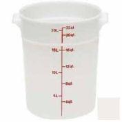 "Cambro RFS22148 - Storage Container, Round, 22 Qt., 13-1/2"" Dia. x 15""H, White, Polyethylene - Pkg Qty 6"