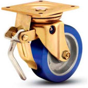 "5"" Dia. 5"" x 5-1/2"" Plate, Urethane Total Lock Swivel Caster - 1500 lbs. Cap."