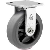 "Bassick Prism Stainless Steel Rigid Caster, Thermal Plastic Rubber, Flat Tread - 6"" Dia."