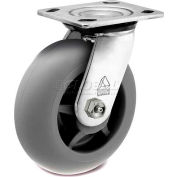 "Bassick Prism Stainless Steel Swivel Caster, Thermal Plastic Rubber, Round Tread - 6"" Dia."