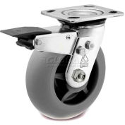 Bassick Prism Stainless Steel Total Lock Swivel Caster, Thermal Plastic Rubber, Round Tread - 5""