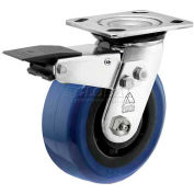 "Bassick Prism Stainless Steel Total Lock Swivel Caster, Eagle Urethane - 6"" Dia."
