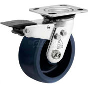 """Bassick Prism Stainless Steel Total Lock Swivel Caster, Solid Urethane - 6"""" Dia."""