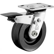 "Bassick® Prism Stainless Steel Total Lock Swivel Caster - Phenolic - 6"" Dia."