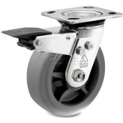 Bassick Prism Stainless Steel Total Lock Swivel Caster, Thermal Plastic Rubber, Flat Tread - 6""