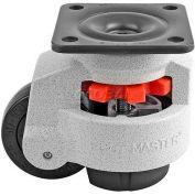 "Swivel Plate Leveling Manual Caster 1650 Lbs., 75mm Dia. Nylon Wheel, 3-3/4"" x 3-3/4"" Plate"