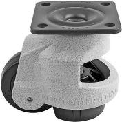 "Swivel Plate Leveling Manual Caster 2200 Lbs., 42mm Dia. Nylon Wheel, 3-3/4"" x 3-3/4"" Plate"