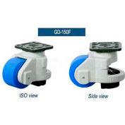 "Swivel Plate Leveling Manual Caster 3300 Lbs., 50mm Dia. Nylon Wheel, 4"" x 4"" Plate"