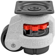 "Swivel Plate Leveling Manual Caster 110 Lbs., 63mm Dia. Nylon Wheel, 2-5/32"" x 2-5/32"" Plate"