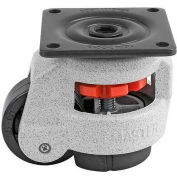 "Swivel Plate Leveling Manual Caster 550 Lbs., 63mm Dia. Nylon Wheel, 2-7/8"" x 2-7/8"" Plate"