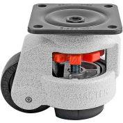"Swivel Plate Leveling Manual Caster 1100 Lbs., 75mm Dia. Nylon Wheel, 3-9/16"" x 3-9/16"" Plate"