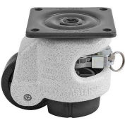 Foot Master® Swivel Plate Ratchet Leveling Caster GDR-60F - 550 Lb. - 50mm Dia. Nylon Wheel