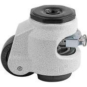 Swivel Stem Leveling Ratchet Caster 1100 Lbs., 63mm Dia. Nylon Wheel, M12 x 1.75P Stem Mounting Hole
