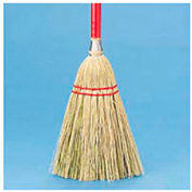 "Lobby Broom Corn Fiber Bristles, 39"" Wood Handle Red/Yellow - BWK951TEA"