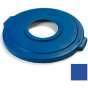 "Carlisle Bronco Round Recycle Lid w/8"" Hole 32 Gallon, Blue - 341033REC14 - Pkg Qty 4"